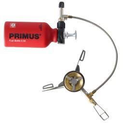 Primus OmniLite Ti Multifuelkocher mit angeschlossener Brennstoffflasche von oben