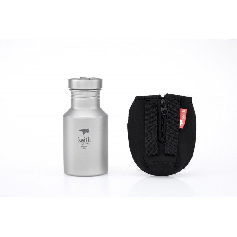 Keith Titanium Titan Trinkflasche 400 ml mit Packtasche