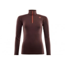 Aclima Warmwool Mock Neck Zip Damen Bitter Chocolate