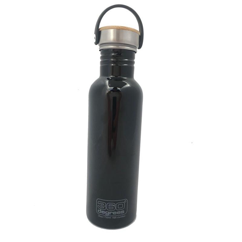 360 Degrees Stainlees Drink Bottle Bamboo Schwarz