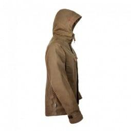 Steinkauz Wachsjacke Regensegen mit lange geschnittenen Ärmeln und gut schließender Kapuze