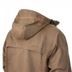 Steinkauz Wachsjacke Regensegen mit abgedeckter Ventilationsöffnung im Rücken