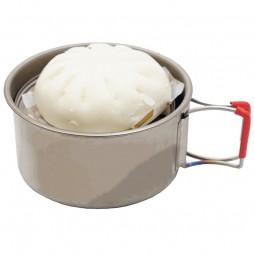 Evernew Ti Steam Dish im Einsatz mit Standfuß und Ti Cup 570FD