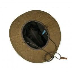 Steinkauz Waxcotton Outdoorhut Wetterretter Innenseite mit Reißverschlussfach