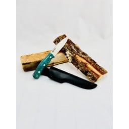 Casström No. 10 SFK Maserbirke blau Beispielbild mit Holzscheiten und Hülle