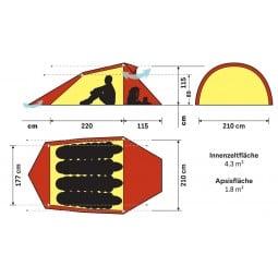 Schema mit Abmessungen des Hilleberg Nallo 4 Zeltes