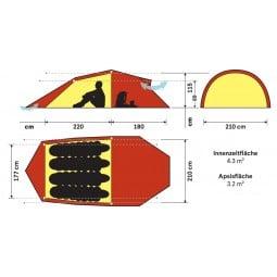 Hilleberg Nallo 4 GT Zelt Abmessungen