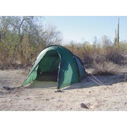 Ein grünes Hilleberg Nallo Zelt mit eingebautem Mesh Inner Tent