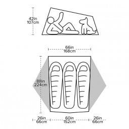 Maße des Tiger Wall UL 3 Solution Dye Zeltes