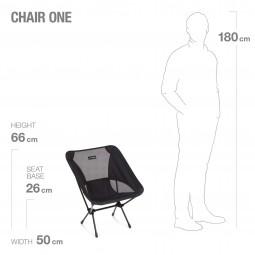 Helinox Chair One Campingstuhl Abmessungen und Sitzhöhe aufgebaut