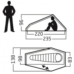 Telemark 1 LW Zelt Abmessungen