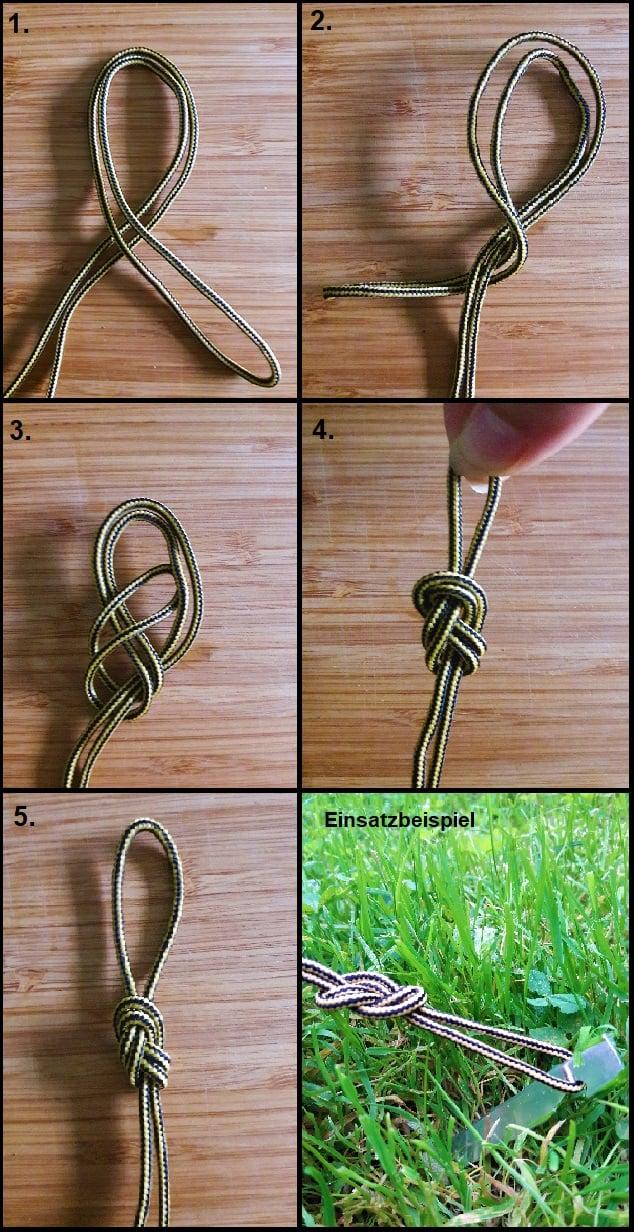 Anleitung für einen einfachen Achterknoten zum Überwerfen