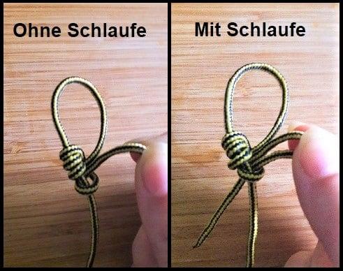 Knoten mit und ohne Schlaufe am Ende